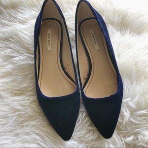 Zara Blue Velvet Low Heeled Shoes